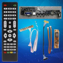 V56 Universal LCD TV Controller Driver Board PC/VGA/HDMI/USB Interface+7 Key Board+LVDs Cable Kit t vst59 03 lcd led controller driver board for b141ew04 v4 qd14tl02 b154ew02 tv hdmi vga cvbs usb lvds reuse laptop 1280x800