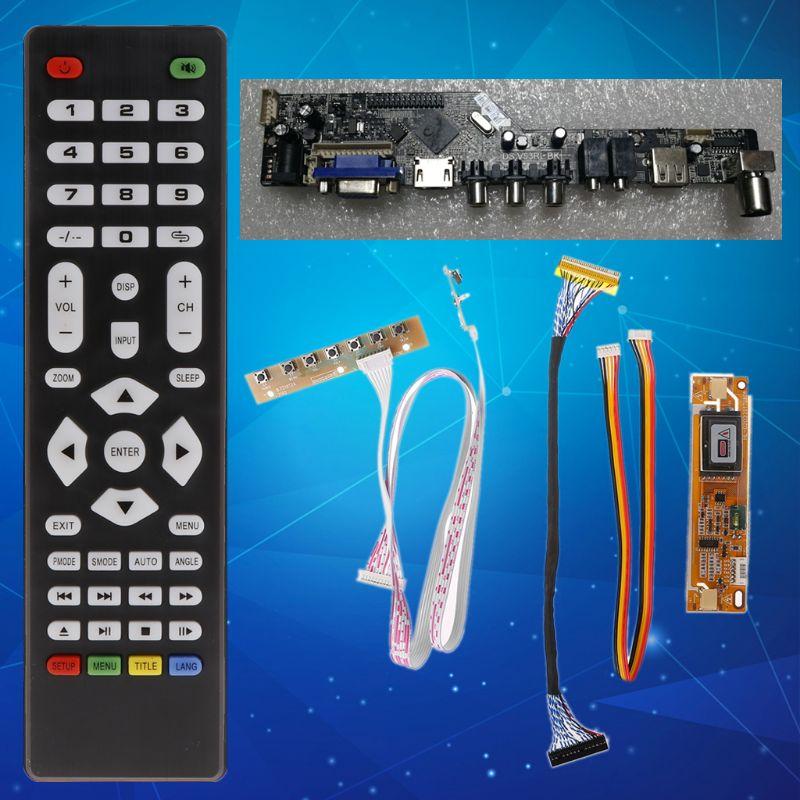 V56 Universal LCD TV Controller Driver Board PC/VGA/HDMI/USB Interface+7 Key Board+LVDs Cable Kit