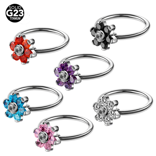 1PC G23 Titanium Flower Gem Nose Rings Ear Cartilage Rings