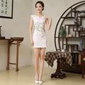 Женщины Элегантность Китайское Традиционное Платье Женский Сельма V Воротник Cheongsam Китайский Qipao Платье для Торжеств и Вечеринок 89