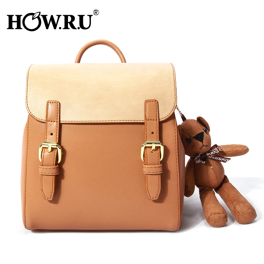HOWRU Cute Bear Women Backpack PU Leather School Bags For Teenagers Girls Leisure Small Backpacks Female