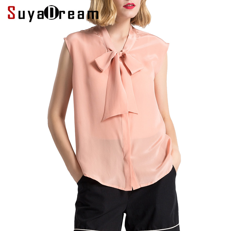 Women Silk blouse 100 REAL silk Sleeveless White blouse shirt Bow collar Casual 2019 Spring Summer