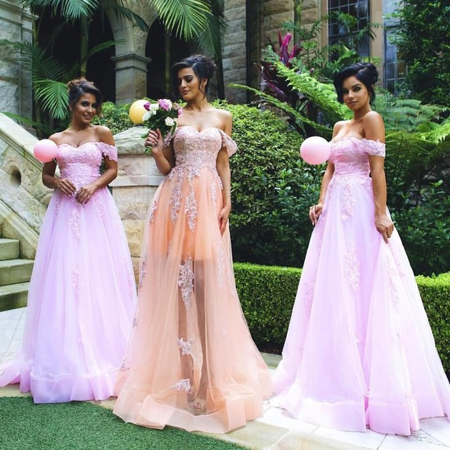 Off the Shoulder Country Bridesmaid Dresses Long Plus Size Maid of ...