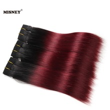 Бразильские не Реми волосы двухтонный Омбре 1B/Бург черный бордовый 3 пучка человеческих волос Yaki Прямые Наращивание