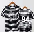 Kpop bts bangtan boys member name printing stripes t shirt one size girl's summer short sleeve o neck t-shirt small size