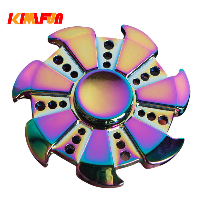 Colorful Six bead Hand spinners Metal Fidget Spinner For Autism and ADHD Kids Spiner Tri Finger Toy Fidget stress high quality edc hand spinner new style wing tri fidget spinner for autism and adhd rotation time long anti stress toys kid gift