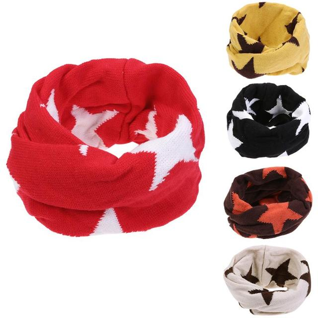 Winter Baby Scarf Knitting Wool Pentagram Pattern Double Deck Jacquard Kids Boys Girls Neck Protect Warm Scarf Children Collar In Hats Caps From