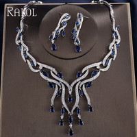 RAKOL White Gold Color AAA Cubic Zirconia Earrings Necklace For Women Beautiful Blue/Red/Green Crystal Big Jewelry Set RS11887K