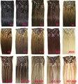 """16 """" - 32 """" 7 pcs conjunto grosso 140 g brasileiro virgem Remy grampos de cabelo em extensões do cabelo humano cabeça cheia 28 cores disponíveis"""