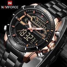NAVIFORCE Brand Men Sport Watches Waterproof Chronograph LED Digital An