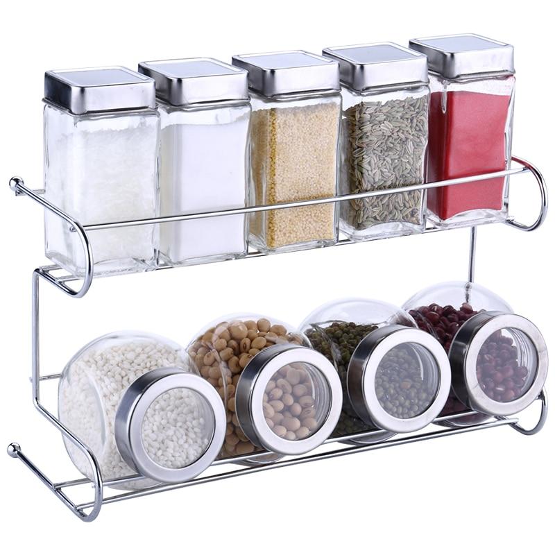 Kitchen Spice Bottle Set Seasoning Jar Shelf Spice Rack 10pcs/Set