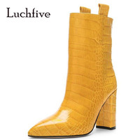 European Plus Size Party Shoes Autumn Fashion Dress Boots Cocrodile Leather Yellow White Pointed Toe Ankle Boots