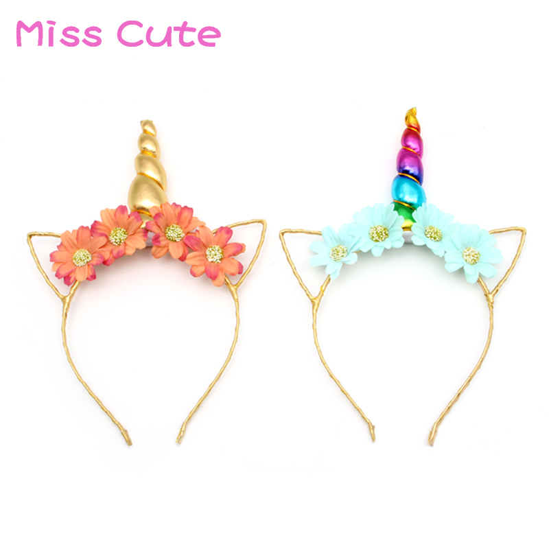 Accessories Expressive 10pc/lot Unicorn Party Baby Headbands Diy Handmade Flower Cat Ear Hairband Rainbow Unicorn Horn Headband Baby Girls Accessories Convenient To Cook
