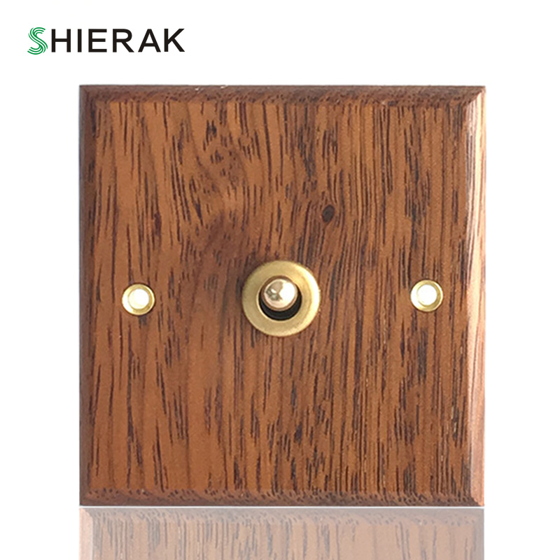 SHIERAK 2017 Hand Made European Retro Switch 10A 110V-250V Wood Panel Brass Lever 1 GANG/ 2 GANG/ 3 GANG Wall Switch Socekt
