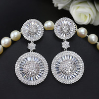 Circle Water White Zircon Crystal 925 Sterling Silver Dangle Earring For Women M02 E0169