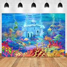 Neoback Underwater World Birthday Party Photo Backdrop Fishes Coral Castle Custom Photography Background