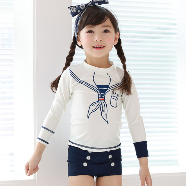 US $19 88 |2019 New Long Sleeve Children swimsuit female baby kids girls  swimwear cute sailor bathing suit free shipping-in Children's Two-Piece  Suits
