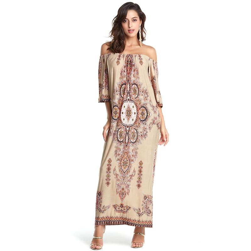 Boho Bohemian Maxi Dress Summer 2018 Women Vintage Beach Casual Floral Dress Long Loose Short Sleeve Print Fashion Vestidos