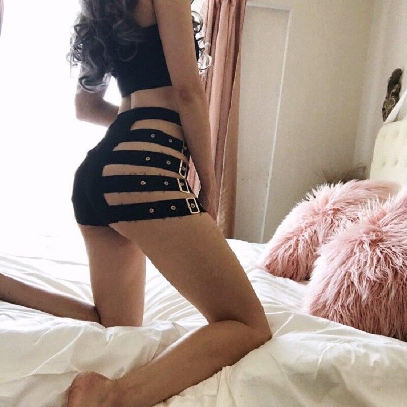 Black Punk Shorts Women Fashion Sides Hollow Out Metal Button High Wais Harajuku Summer Sexy Shorts Female