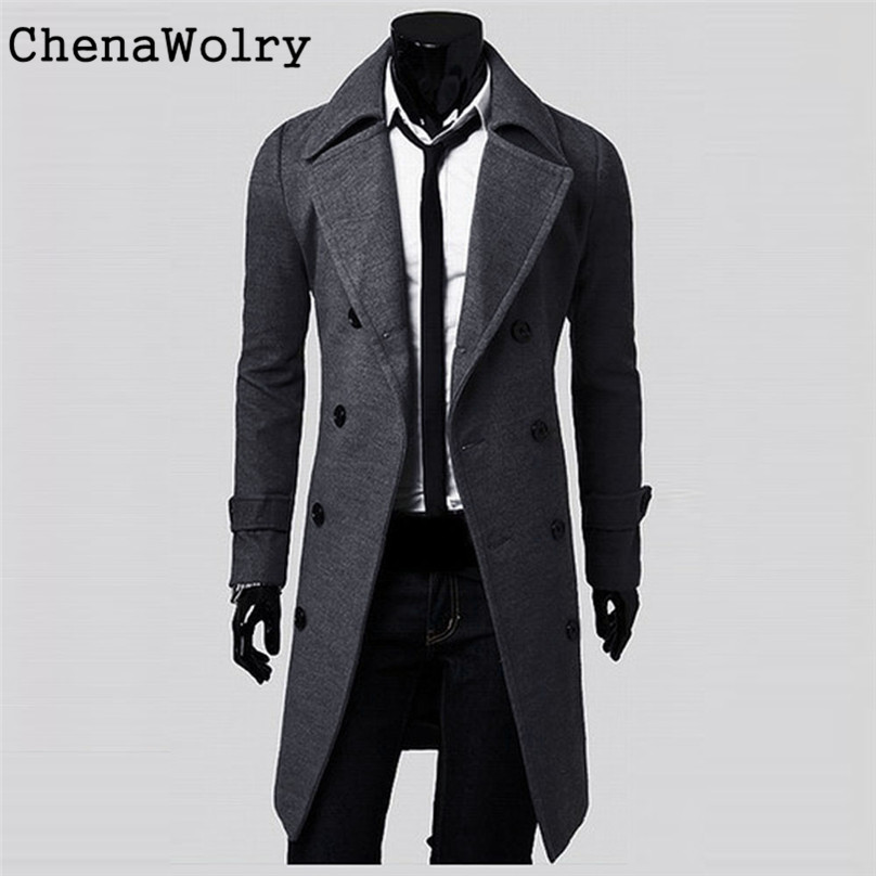Stylish Casual Winter Warm Slim Fit Long Sleeve Men Trench Coat Double Breasted Long Jacket Parka