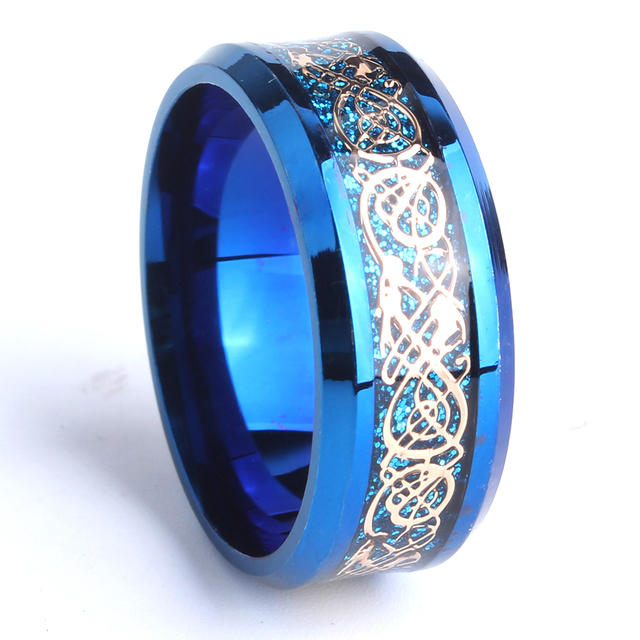 Free Shipping 8mm Blue Carbon Fiber Gold Color Dragon Wedding Rings For Men 316L Stainless Steel
