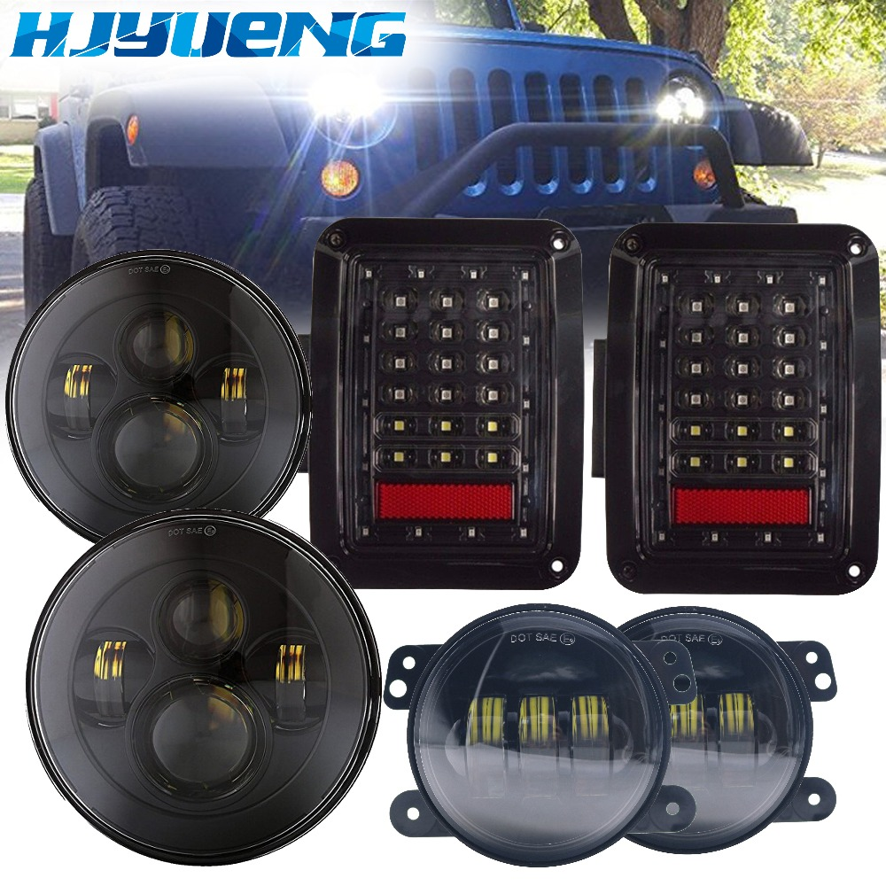 HJYUENG 2007-2015 Wrangler JK LED 7inch Round Headlight H4 High Low+Led Tail Light For Jeep Wrangler JK+ 4 inch Fog Lights for jeep wrangler jk 2007 2016 tail light diamond smoke led tail light