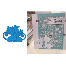Two Cute Cats Love Metal Cutting Dies for Making Card Scrapbooking DIY Paper Album Decoration Craft New 2019