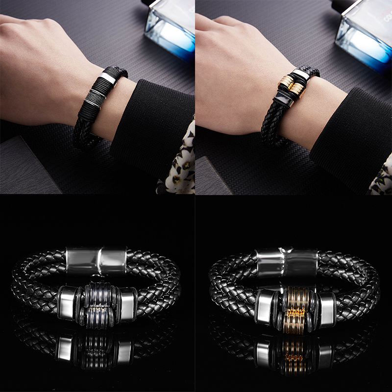 Fait main tressé en cuir bracelet bijoux en acier inoxydable bracelet simili cuir