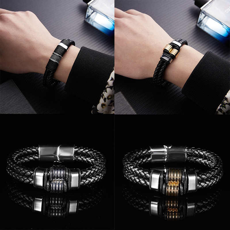 Fashion Multi-layer Black Leather Chain Weaved Man Bracelets Stainless Steel Wristband Magnet Clasp Handmade Jewelry Gift