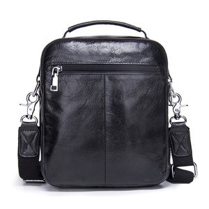 Image 3 - CONTACTS Genuine Cow Leather Messenger Bags Flap Casual Men Solid Handbags Famous Brand Small Male Shoulder Crossbody Bags