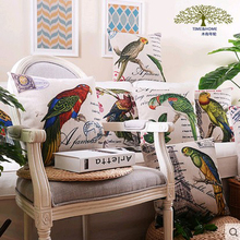 American style Rural Cushion Cover Office Sofa Wedding Flower bird plant pattern Linen Pillow Cover Home Decorative Pillows Case