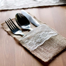 Фотография Free shipping 50PCS Jute Burlap Cutlery Pocket wedding party accessories rustic wedding centerpieces burlap wedding favors