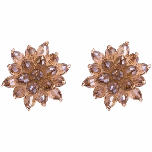 Qiaose Handmade Crystal Beads Flower Stud Earrings for Women Fashion  Jewelry Boho Maxi Collection Earrings Accessories b2573895a6f9