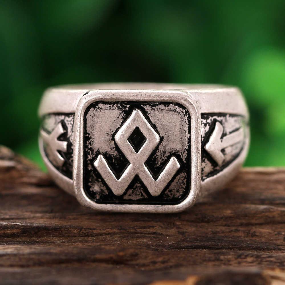 Viking Nordic futhark runiczny pierścień pogański mężczyzn biżuteria Drop Shipping