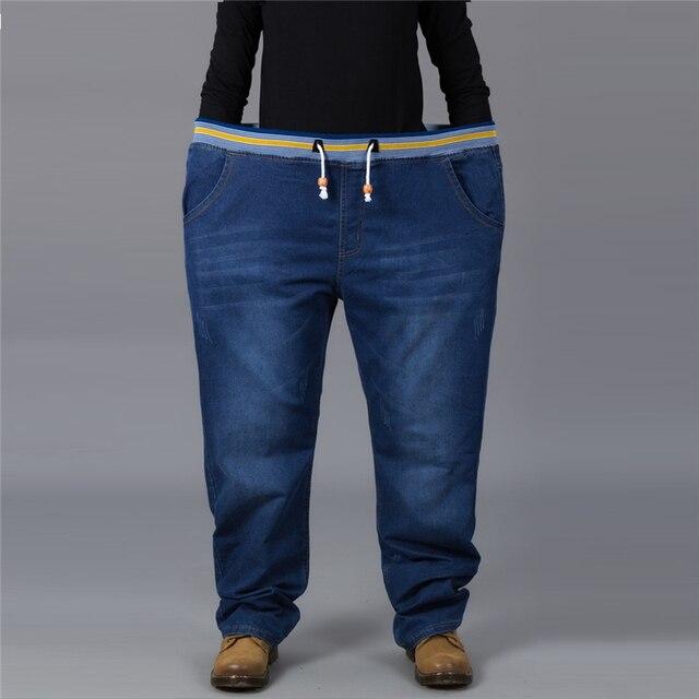 Джинсы мужчины эластичный пояс плюс размер полная длина джинсовые брюки очень большой размер 28 до 50