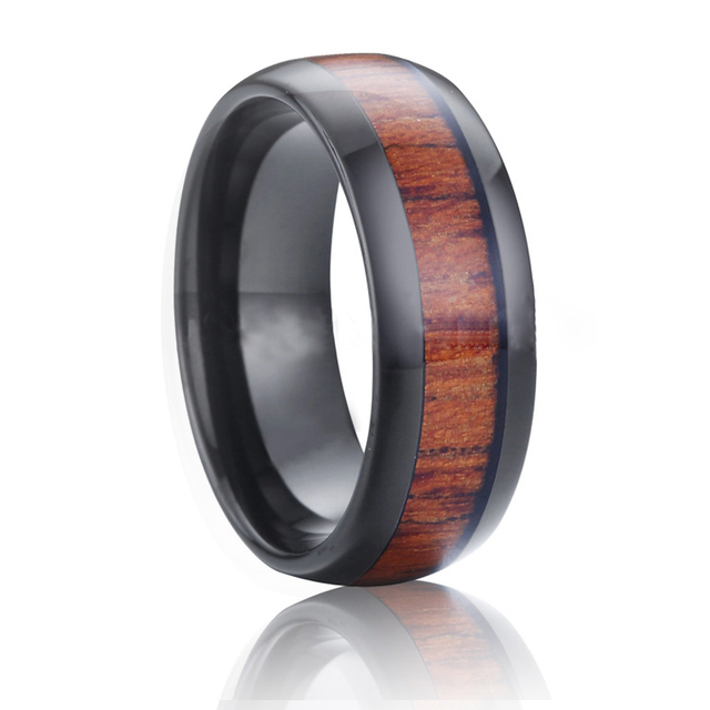 Pure Wood Inlay Ring Black Mens Tungsten Carbide Wedding Bands Unique Trendy Engagement Promise Eternity Rings