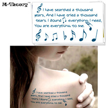 M-theory Temporary Tattoos Body Arts Small Music Notes Flash Tatoos Sticker 10.5x6cm Waterproof Bikini Swimsuit Dress Makeup