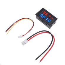 Digital DC Voltmeter Ammeter DC 100V 10A Voltage Current Meter Power Supply Red Blue LED Dual Display(China)