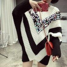 soonyour 2016 Autumn Fashion New Black And White Stripe Hit Color V Form Paillette Bat