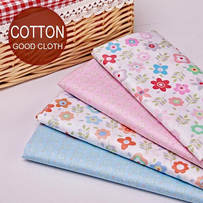 353faa6c3f 4 PZ Twill di Cotone Stampa Panno Del Bambino Pastorale Federa Patchwork di  Tessuti di Cotone