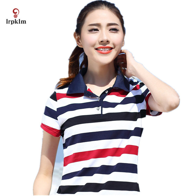 2017 High Quality Sexy Womens Ladies Striped Poloshirt Cotton Large Size Females Shirts Polo Summer Plus Size M-5XL 6XL YY694