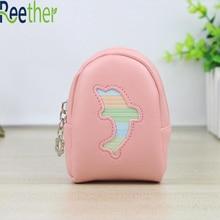 Reether Girls Coin Bag Sleutelhouder Student Portemonnee Met Sleutelhanger Dames Mini PU Wallet Handtas