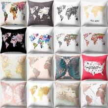 Mapa del mundo impreso personalizado sofá Fundas de cojín 45x45cm Rosa negro y blanco cubierta para almohada Vintage decoración del hogar Accesorios