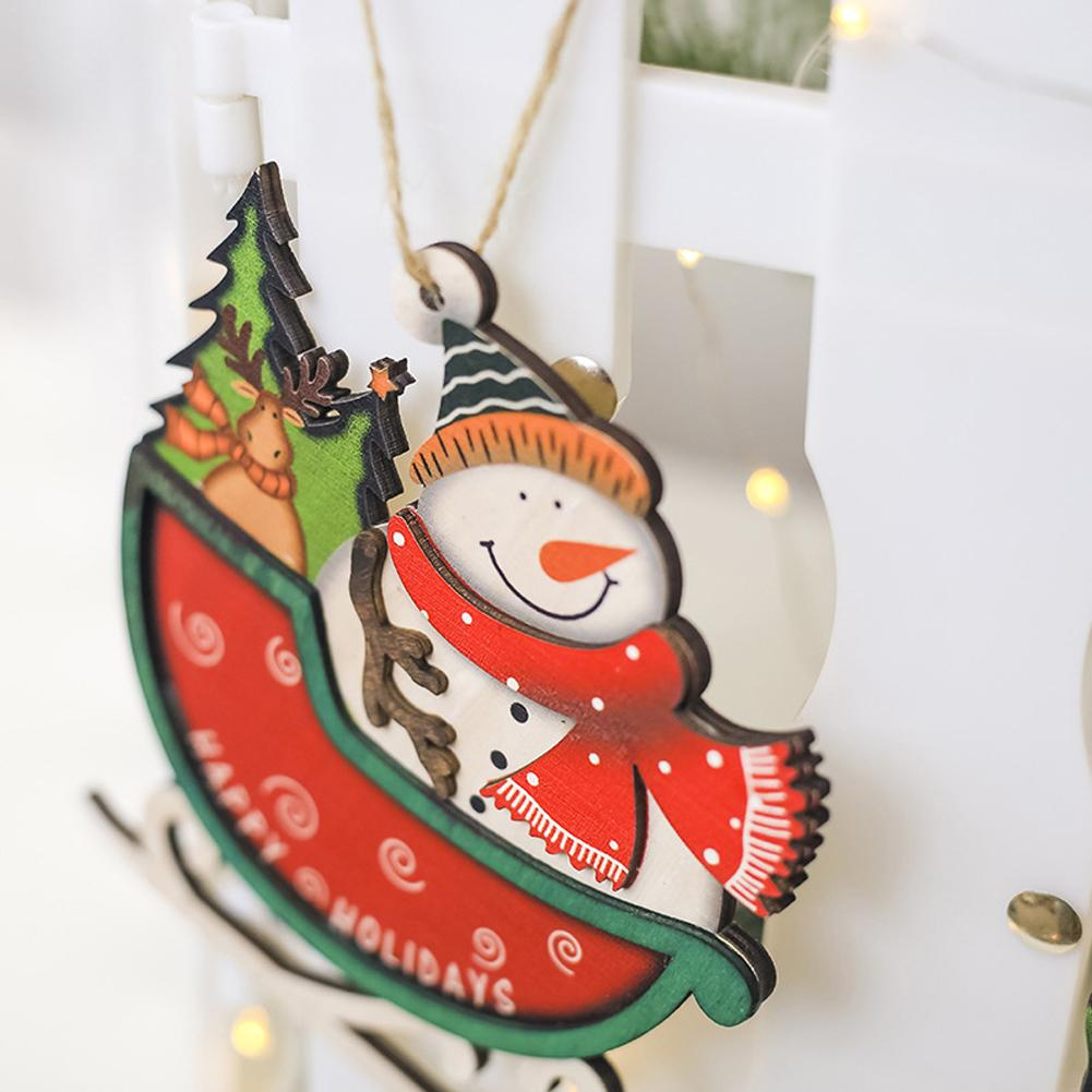 dropshipping christmas sleigh pendant christmas tree innovative painted snowman santa claus door wooden tree decoration in pendant drop ornaments from