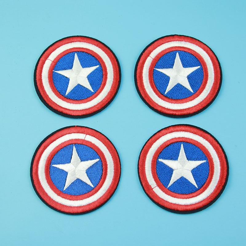 1pc / Batch <font><b>Captain</b></font> <font><b>America</b></font> <font><b>Patch</b></font>, 2.85 Inches Superhero Cartoon Avenger Embroidered Seam <font><b>Patch</b></font> Ready For Cold Iron