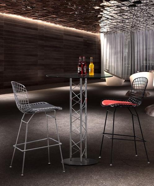 diseo moderno cromado o negro bertoia silla taburete taburete de la barra de alambre de metal