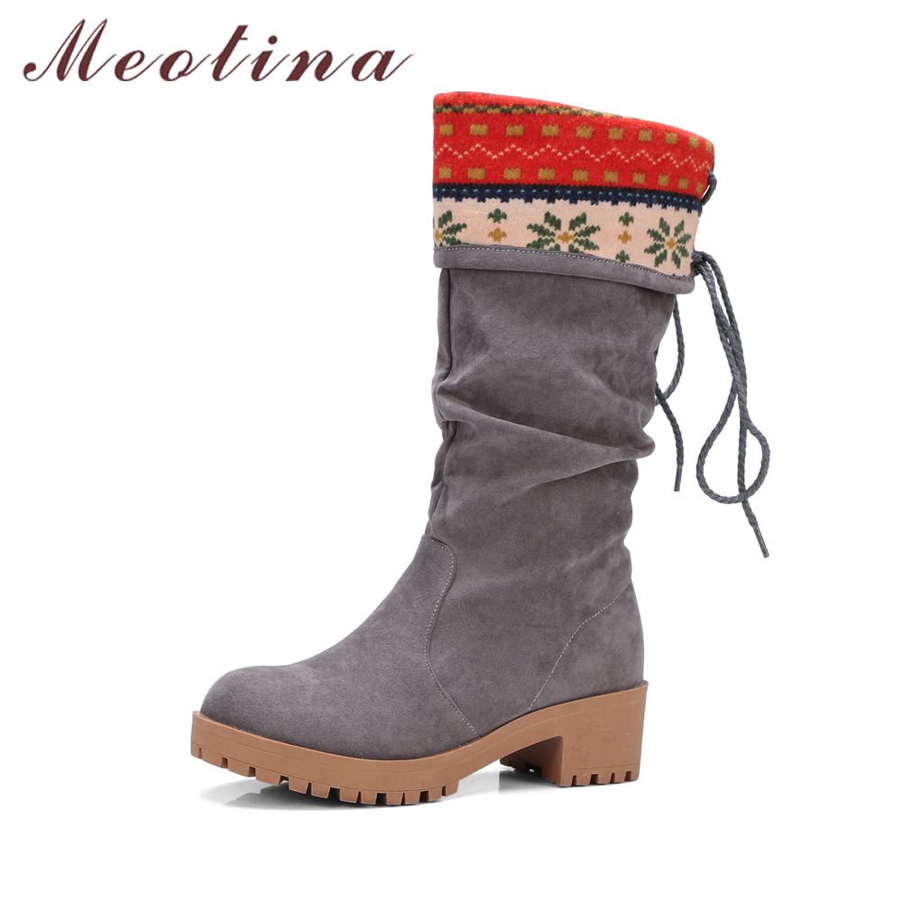 Meotina Women Boots Mid High Heels Women Winter Boots Mid-Calf Boots Block Heels Ladies Shoes Big Size 34-43 Female Autumn Shoes double buckle cross straps mid calf boots
