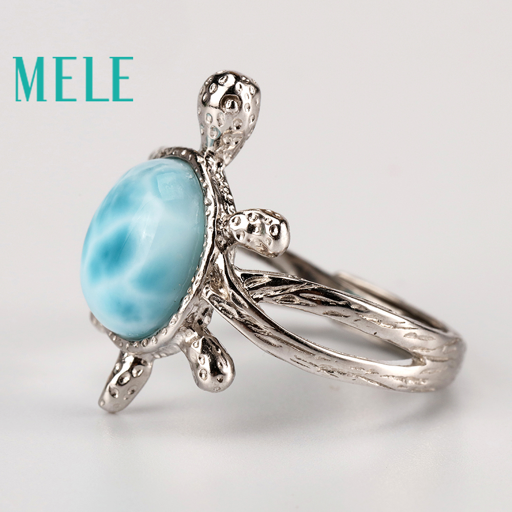 Tortoise shape natural deep blue larimar ring with silver 925 classic style jewelry for women and girls Suitable for party in Rings from Jewelry Accessories