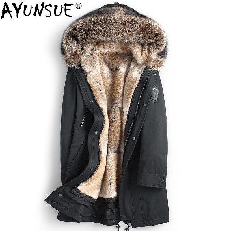 AYUNSUE abrigo de piel Real Parka de piel de visón Natural para hombre chaquetas de invierno de piel de mapache cuello Parkas chaqueta de lujo 2018 KJ1192