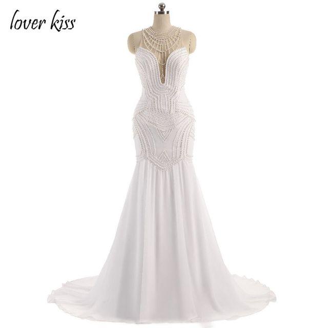 Lover Kiss Vestido De Noiva Sheer Neck Y Wedding Dress Pearls Mermaid Illusion Back Dresses